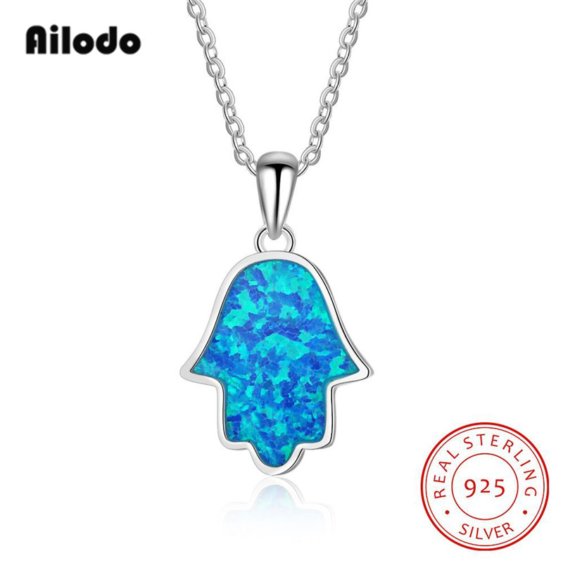 Ailodo Genuine 925 Sterling Silver Blue Hamsa Hand Pendant Necklaces For Women Men Fine Fashion Jewelry Gift LD100