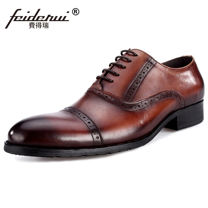 Vintage Handmade Man Carved Brogue Shoes Genuine Leather Formal Dress Wedding Oxfords Round Toe Men's Party Prom Flats MG82 eu38 44 black brown color fashion style men s shoes genuine leather handmade round toe dress wedding brogue oxfored shoes