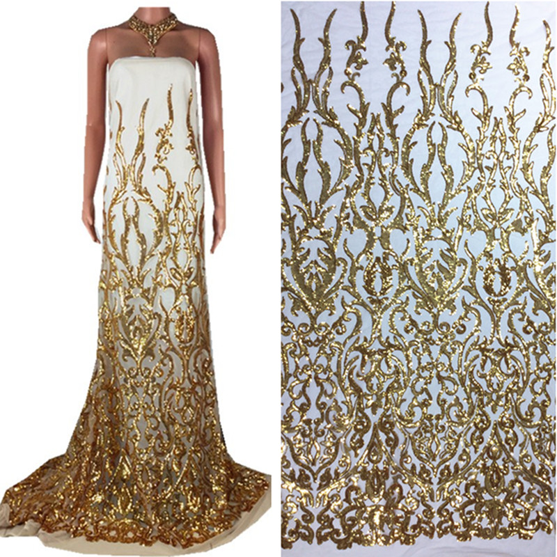 African High Quality Bridal Dress Floral Embroidered Gold Sequin French Tulle Lace Fabric for Women Evening Dress 33African High Quality Bridal Dress Floral Embroidered Gold Sequin French Tulle Lace Fabric for Women Evening Dress 33