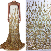 African High Quality Bridal Dress Floral Embroidered Gold Sequin French Tulle Lace Fabric for Women Evening Dress 33