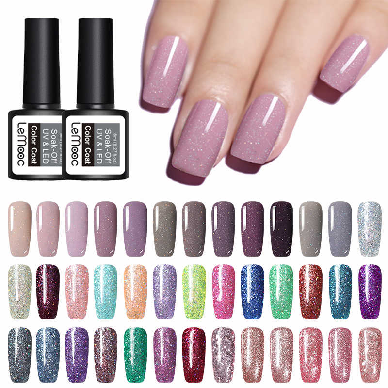 Lemooc 8Ml Color Nail Gel Polish Sparkly Sky Gel Lak Uv Losweken Nail Art Varnish Glitter Pailletten Gel vernis