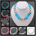 Statement CCB Choker Chunky Chain Necklace Women Gold Plated Long Chain Collar Necklace Fashion Accessories