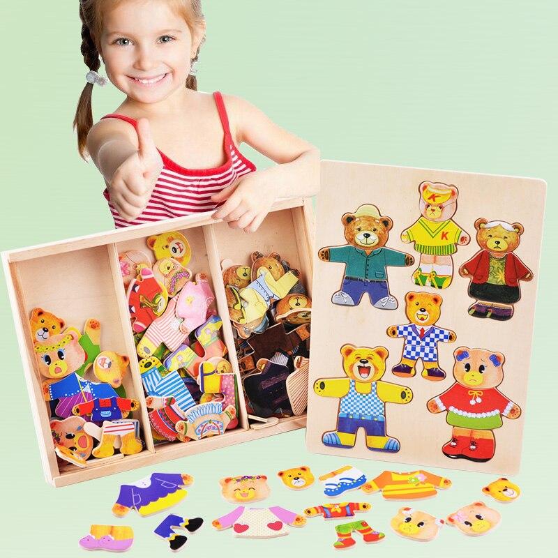Милый медвежонок переодеться игрушка детская раннее образование деревянный пазл игрушки туалетный игры детские деревянные подарки для де...