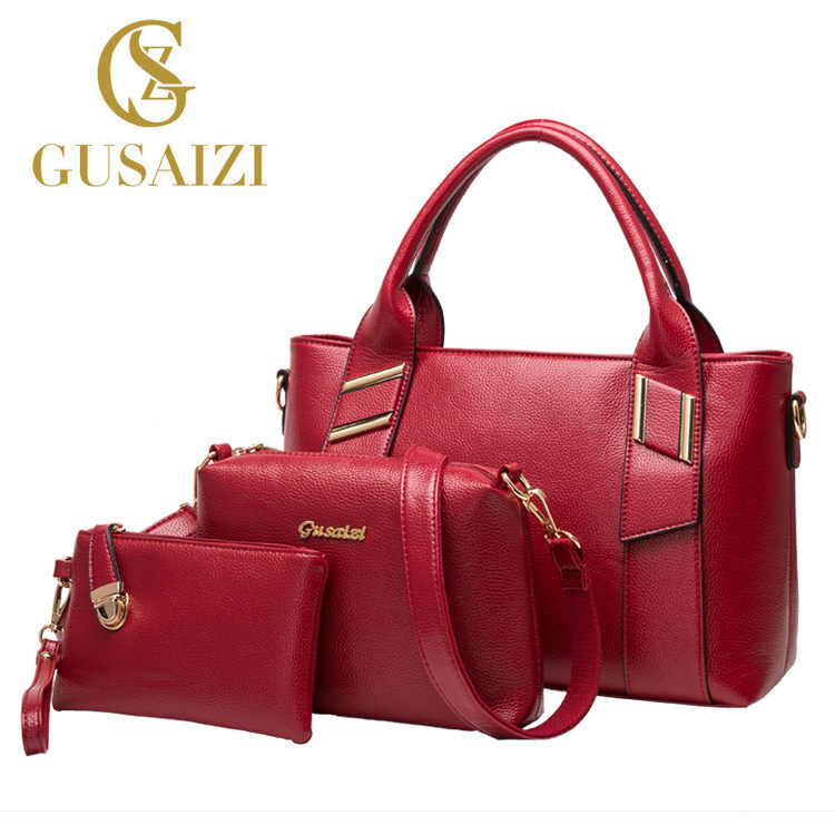 New High Quality Genuine Leather Handbag Women Three Sets of Bag Female Singles Shoulder Bag Ladies Messenger Bag Sac a main bag qiaobao 2018 new korean version of the first layer of women s leather packet messenger bag female shoulder diagonal cross bag