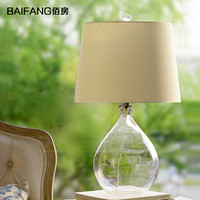 nordic American style countryside pastoral glass bottle table lamp fabric shade bedroom bedside table lamp 3032