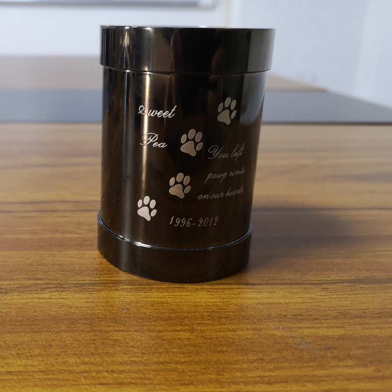 KLH001 urne de bougeoir commémoratif pour animaux de compagnie de haute qualité, urnes de crémation d'impression de patte d'acier inoxydable tiennent des animaux de compagnie, chien, cendres de chat