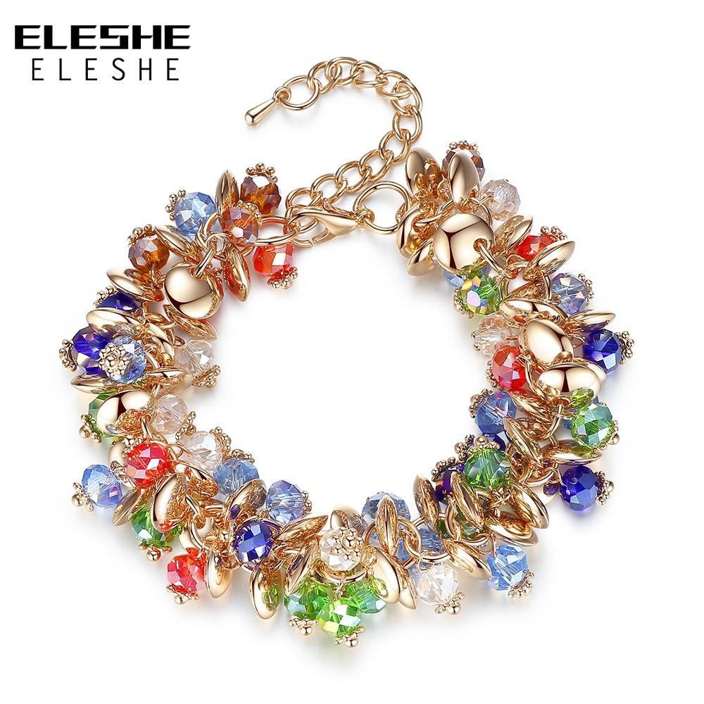 ELESHE متعدد الطبقات سحر أساور كريستال الصداقة الخرز أساور للنساء لون الذهب النساء سوار الأزياء والمجوهرات