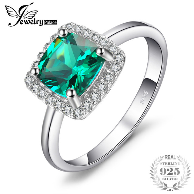 JewelryPalace Cushion 2.3ct Created Emerald Engagement Halo Ring Solid 925 Sterl