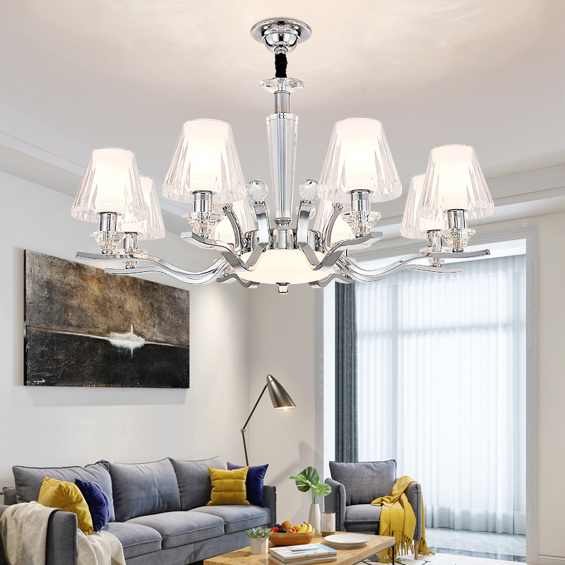 Modern Chrome Metal Led Chandeliers Lighting Acrylic Shade Living Room Led Pendant Chandelier Lights Hanging Lamp For Bedroom yeelight ночник светодиодный заряжаемый с датчиком движения