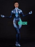 3D Print Custom Halo Cortana Costume Game Girl Cortana Cosplay Suit Women Zentai Halloween Cosplay Costumes