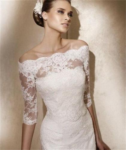 Lace White Ivory Half Sleeve Off Shoulder Wedding Bridal Wraps JacketsBolerosShawl Coats