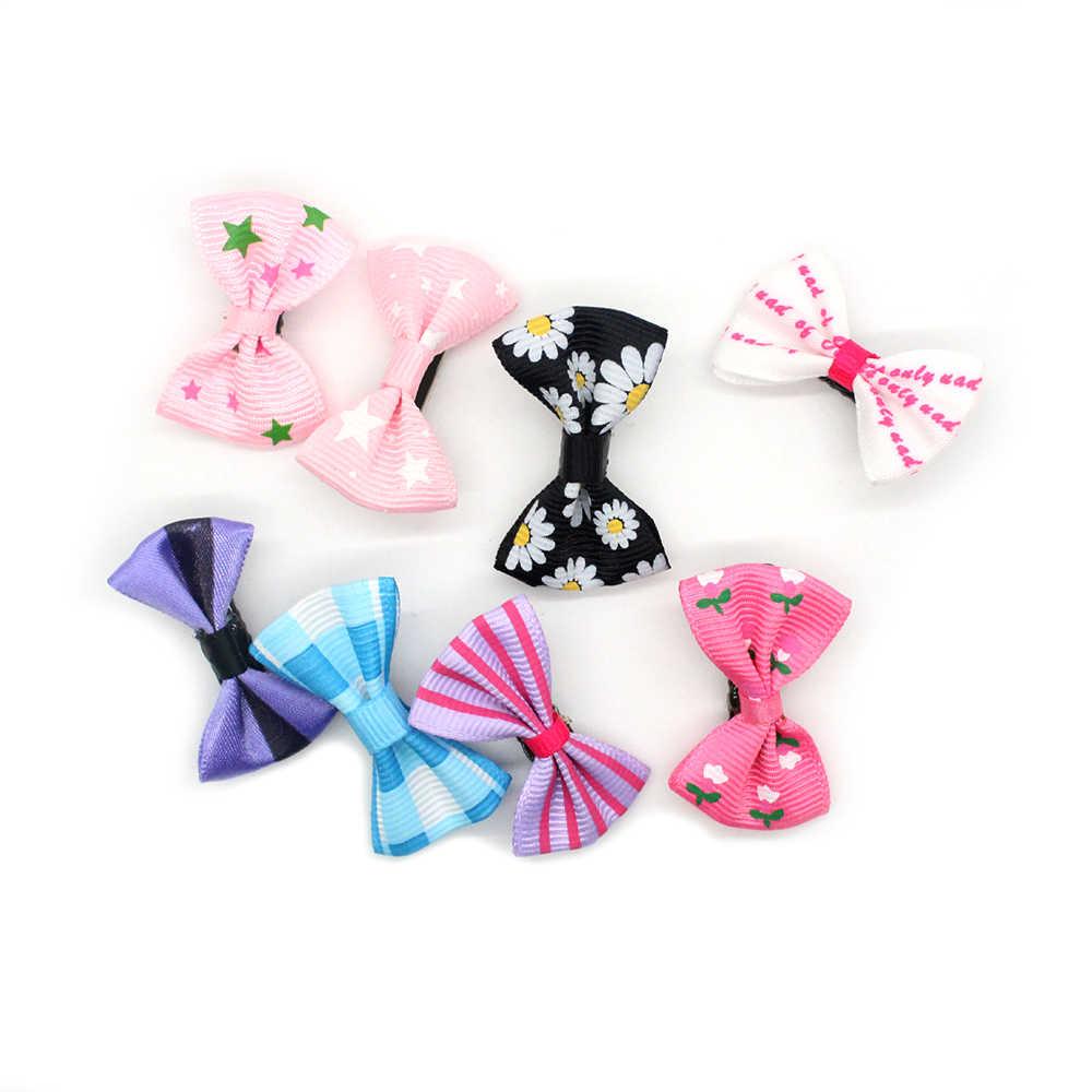 10 unids/lote moda niñas niños Color caramelo punto flor impresión lazo horquilla pinzas pelo Niños Accesorios para el cabello FZH