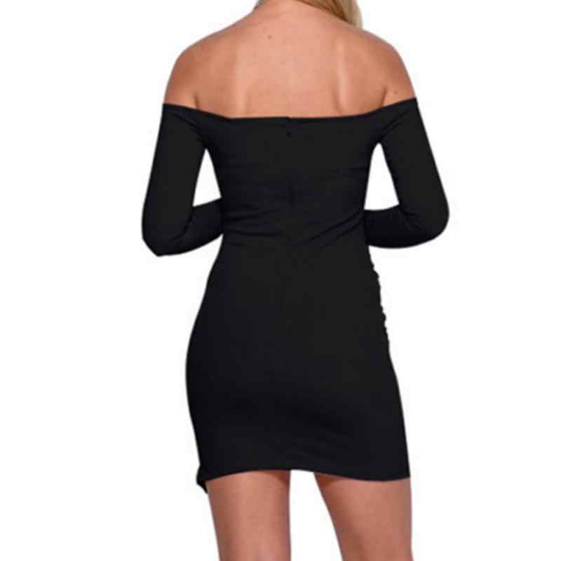 4acc06dfd5aff Women Package Hip Dress 2018 Sexy Off Shoulder Long Sleeve Slim Elastic  Bodycon Night Club Party Dresses