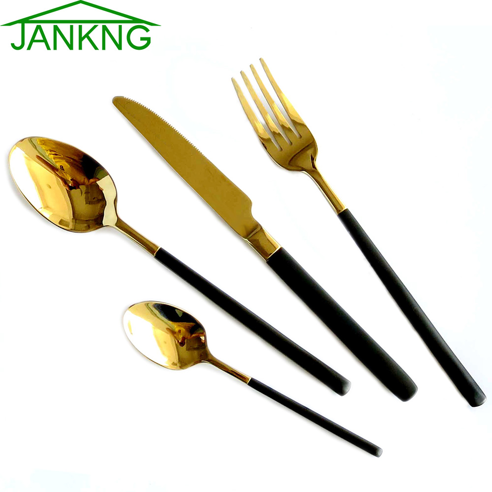 buy jankng 4pcs set 24k gold cutlery set. Black Bedroom Furniture Sets. Home Design Ideas