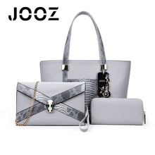 JOOZ Brand Luxury Serpentine Lady Handbag 3 Pcs Composite Bags Set Women Shoulder Crossbody Envelope Bag