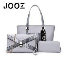 Jooz marca de lujo serpentina bolsas de conjunto de las mujeres de señora handbag 3 unids compuesto hombro crossbody embragues del sobre del bolso femenino billetera