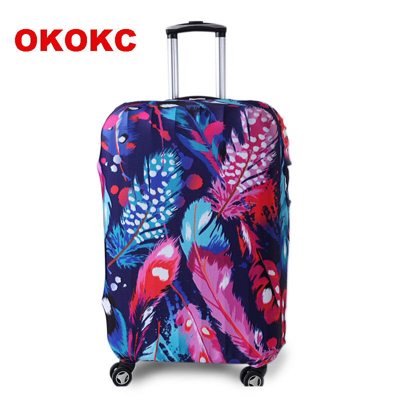 OKOKC Feathers Travel Elastic Luggage Suitcase Protective Cover Apply To 19''-32'' Suitcase, Travel Accessories