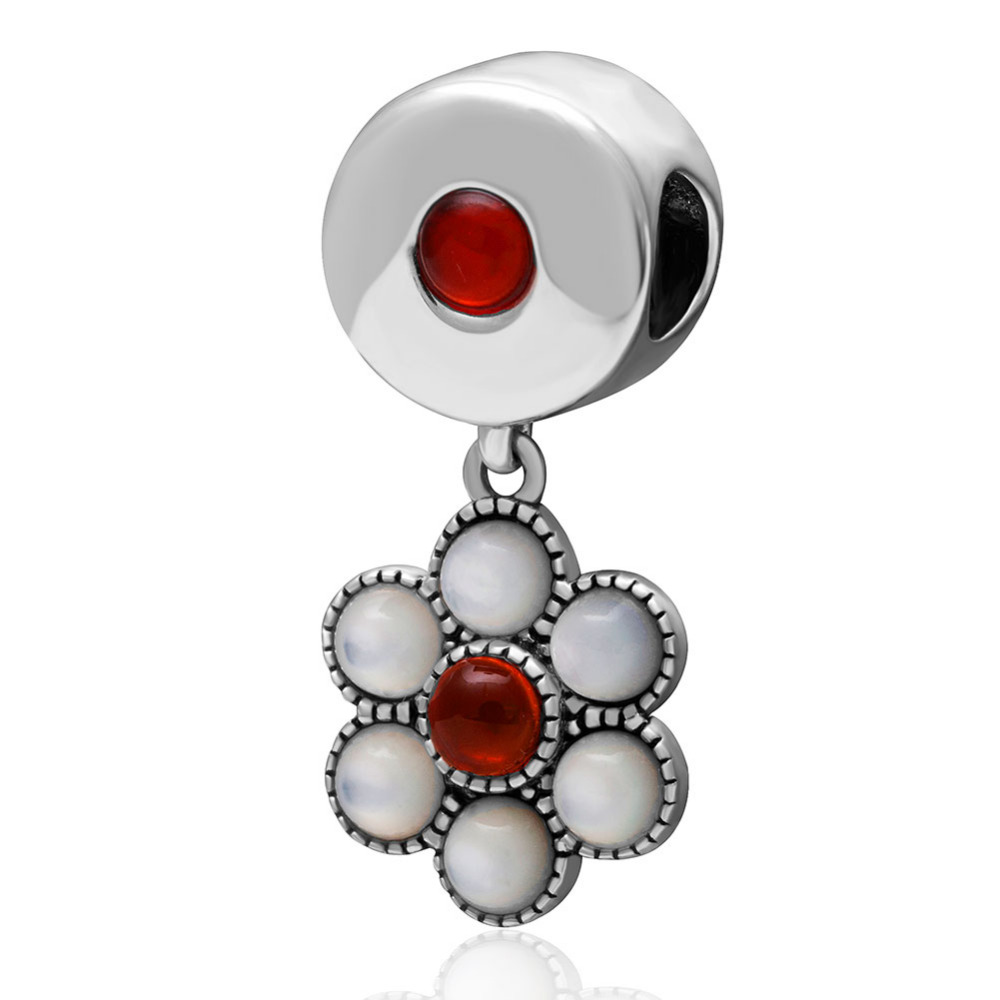 White & Red Flower Pendant Authentic 925 sterling silver Beads DIY Jewelry Fit Pandora Charms bracelets