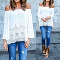 ZANZEA Sexy Off Shoulder Women Blouse 2017 Casual Elastic Slash Neck Lace Crochet Tops Shirts Plus Size Long Sleeve Blusas
