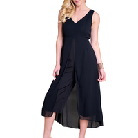2018 Summer Elegant Sleeveless Jumpsuit For Women Chiffon Rompers Playsuits V neck Ladies Casual Jumpsuit Black Female Overalls