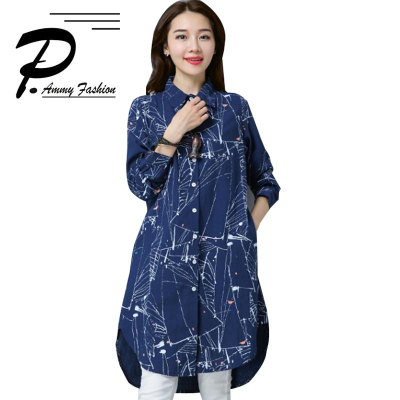 Women s Cotton   Linen Graffiti Turn-down Collar Long Blouse lagenlook Lady  Voguees Trend Long Shirts Linen Tunics Cardigan 30977ff6c4b9