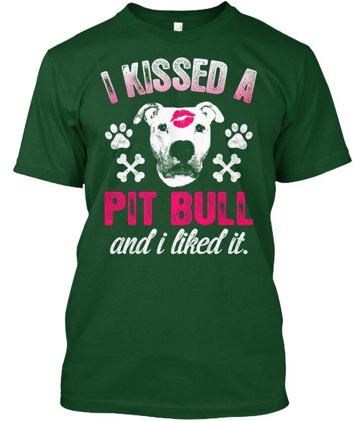 Я поцеловал питбуль и понравилось-Nl Популярные Tagless футболка
