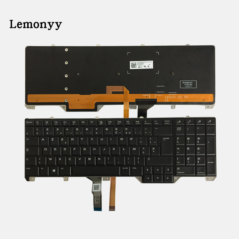 NEW French keyboard for DELL Alienware 17 R2 & 17 R3 FR laptop Keyboard with Backlit 0KWJGT new laptop keyboard for dell xps 13 9343 9350 9550 backlit uk layout