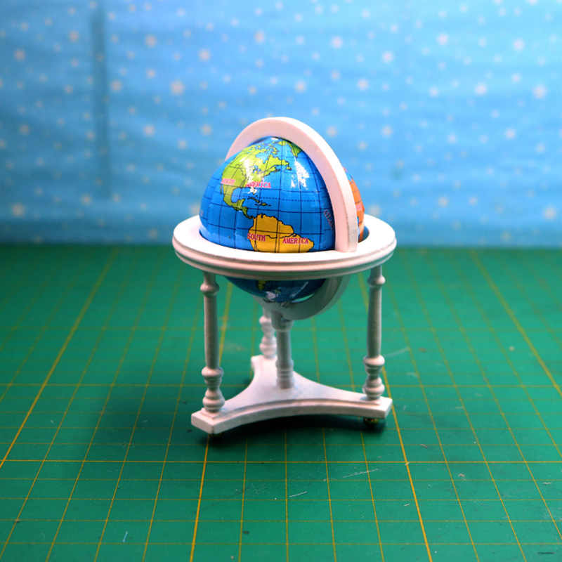 1:12 Dollhouse Furniture toy for dolls Miniature Wooden mini computer desk globe office set girls gifts kids pretend play toys