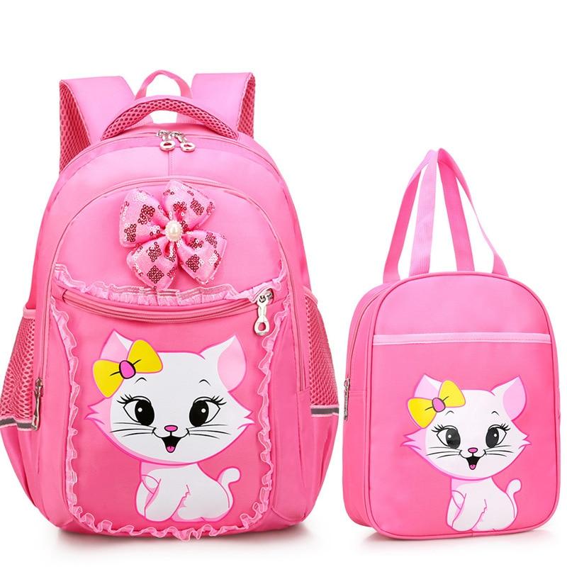 Waterproof Children school bags Girls cat cartoon schoolbags Primary School Backpack set Kids princess Backpack kids sac enfant|School Bags| |  - title=
