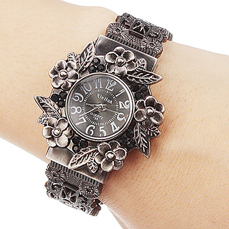 Wristwatches Flower XINHUA Stainless-Steel Women Fashion Quartz for Bracelet Pulsera