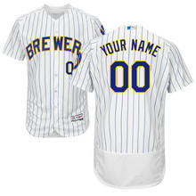 fae453dafd3 MLB Men s Milwaukee Brewers Baseball Alternate White Royal Flex Base  Authentic Collection Custom Jersey(