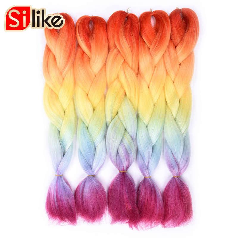Silike 24 inch Crochet Jumbo Braids Hair Extensions 100g Ombre Crochet Braiding Hair For Black Women Rainbow Color 1 pack/lot