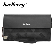 Baellery Black Bussiness Large Capacity Men Wallets Cell Phone Pocket Passcard High Quality Multifunction Wallet For