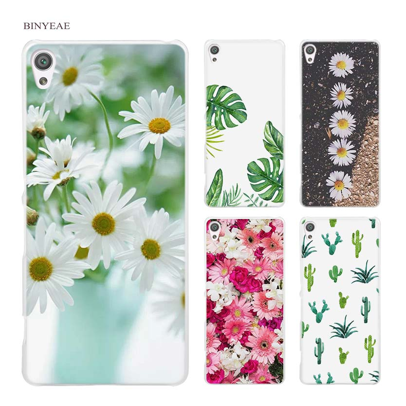 BINYEAE Peony Daisy Cactus Leaves Plants Hard Clear Case Cover for Sony Xperia XA XA1 X M4 Aqua M5 E4 E5 Z5 Z3 Z2 Z1