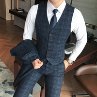 ( Vest + Pants ) 2piece Mens Fashion Plaid Formal Groom Wedding Dress Suit Vest and Pants / Men Plaid Business Suit Trousers