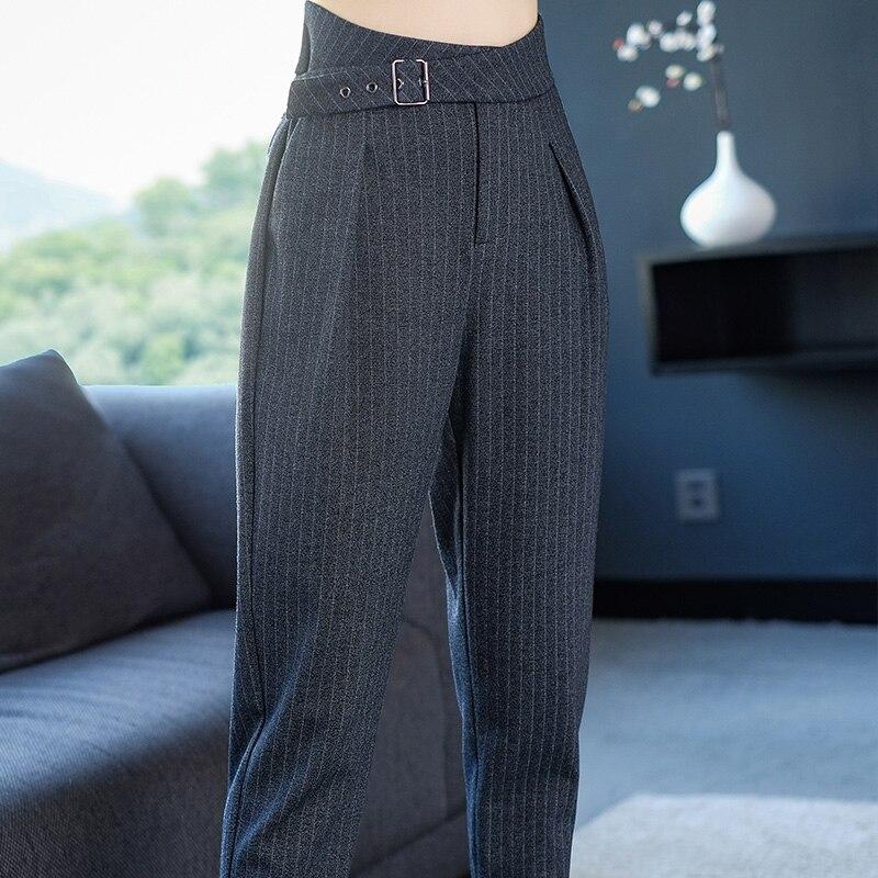 2xl Nueve Nuevo Pantalones Primavera De Mujer Gris Otoño Marca Rayas Lápiz Temperamento Ol 2019 Fajas A r5qHr8