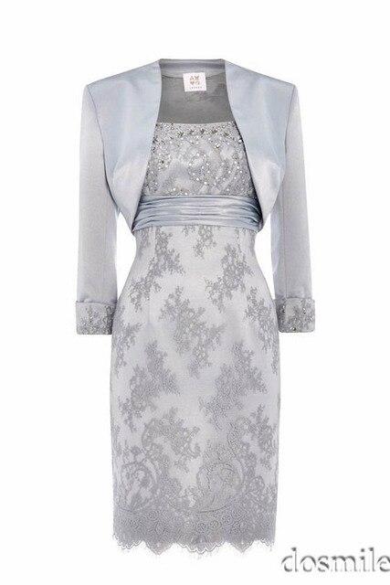 2017 gris cuentas de encaje gorgeous vaina madre de vestido de novia con chaqueta de manga larga más tamaño longitud de la rodilla de la madre de noche vestido