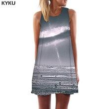 KYKU Brand Galaxy Dress Women Nebula 3d Print Lightning Sundress Gray Short Vortex Party Womens Clothing Vintage Ladies