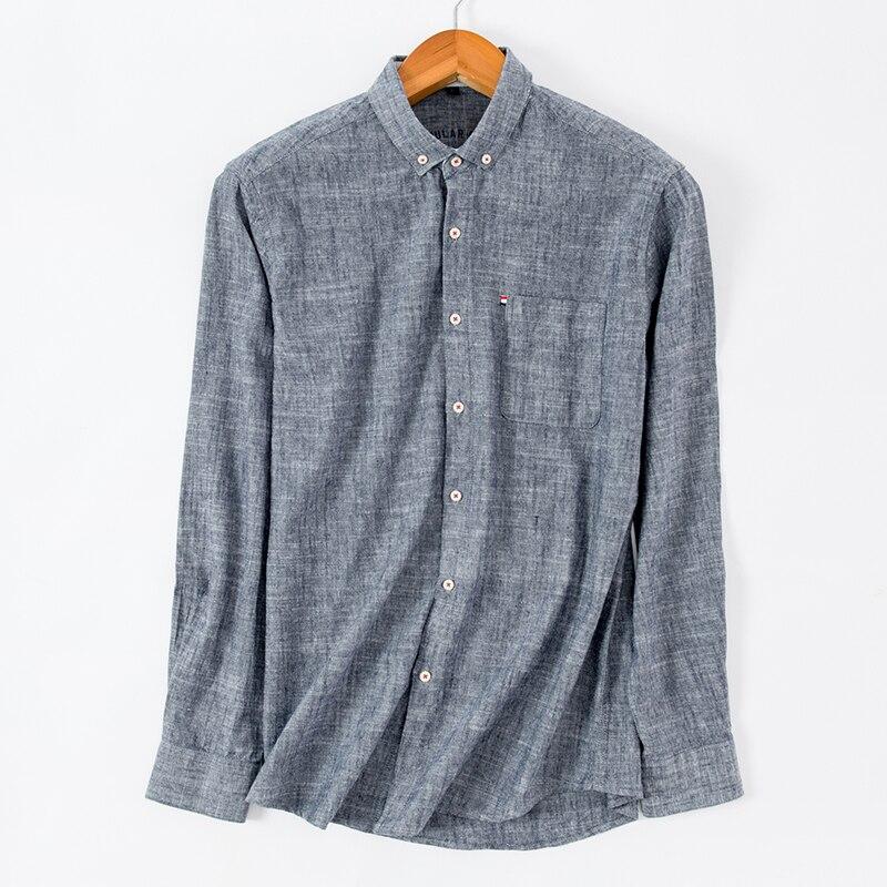 2018 New Arrival High Quality Men Shirts Cotton Linen Long Sleeve Shirt Fashion Slim Fit Shirt Man Brand Clothing DS256 3