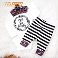 Newborn Baby Clothes 2016 New Baby Clothing Set Flower Girl Letter Romper+ Stripe Pants+Headband 3Pcs Letter Children's Clothing