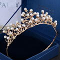 Tiara Bride Crown Headband Wedding Hair Accessories Diadem Pearl Jewelry Tiaras And Crowns Diadema Bijoux Cheveux Coroa WIGO0855