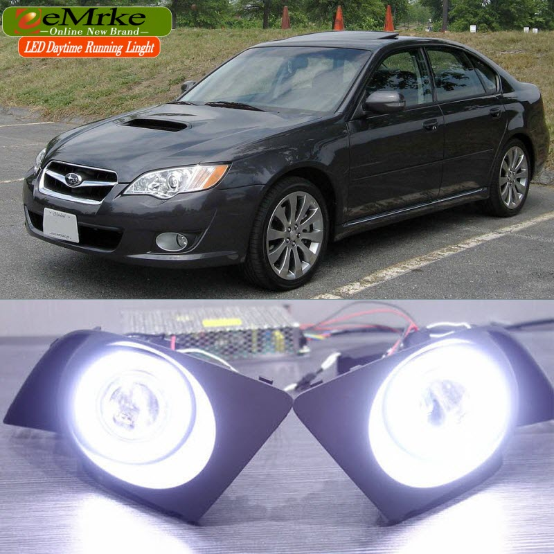 eeMrke LED Angel Eye DRL For Subaru Legacy Sedan / Wagon 2007 2008 2009 Halogen Fog Light H11 55W Daytime Running Lights eemrke daytime running lights for mazda6 sedan wagon led angel eye drl halogen h11 55w fog lamp kits
