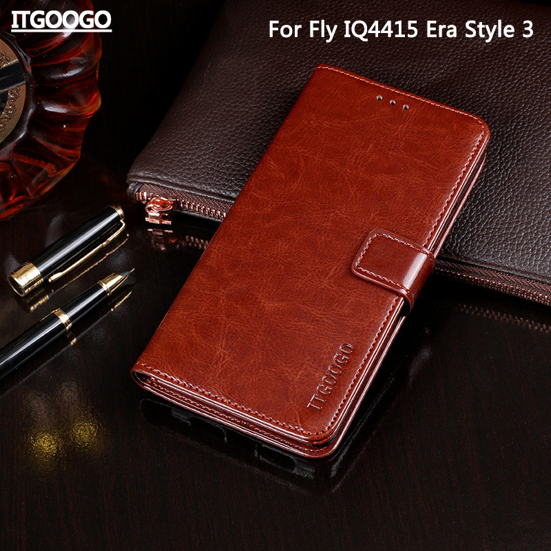 Case For Fly IQ4415 C High Quality Flip Leather Case For Fly IQ4415 Era Style 3 Cover Capa Phone bag Wallet Case