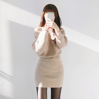 South Korea Chic Spring Fashion Core Rabbit Pile Line Dress The Word Wool Dress Female