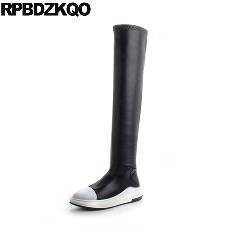 slip on slim black and white thigh high winter long casual round toe over the knee flat boots designer shoes women luxury 2018 long pointed toe casual boots sock thigh high black luxury brand shoes women tall over the knee 2018 knit slim slip on stretch