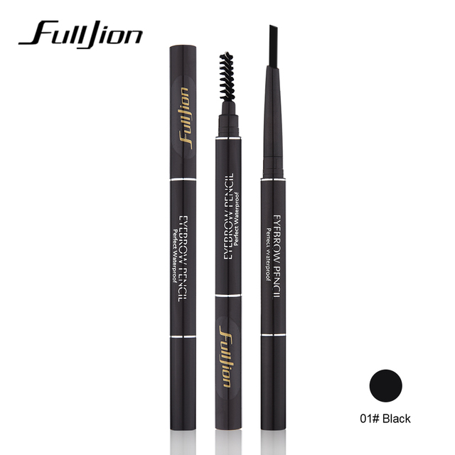 Fulljion Double-Ended Rotatable Eyebrow Pencil with Mascara Brush Waterproof Long Lasting Eyebrow Pen Eyebrow Stencil Makeup Set 3