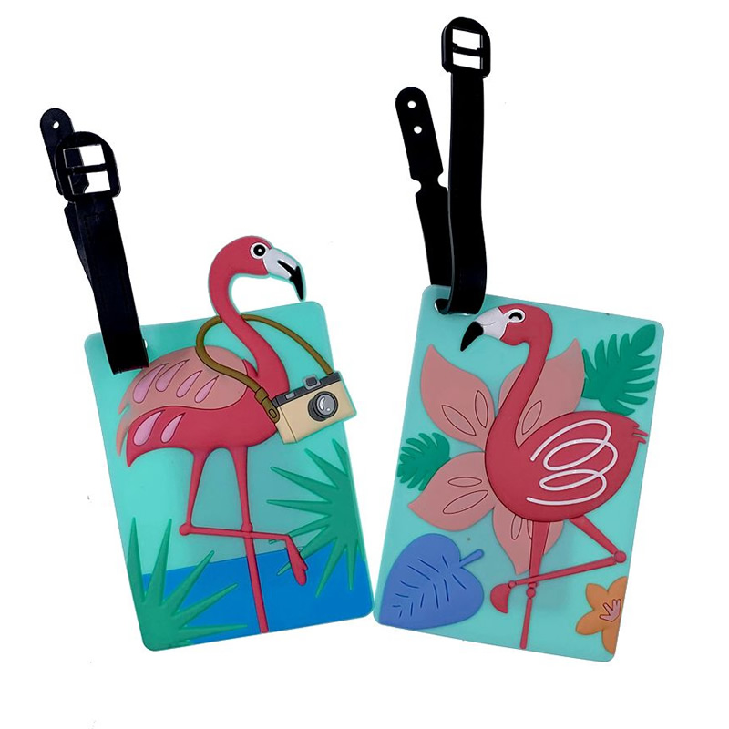 Animal Silica Gel Luggage Tags Travel Accessories Cartoon Flamingo Suitcase ID Addres Holder Baggage Boarding Portable Label