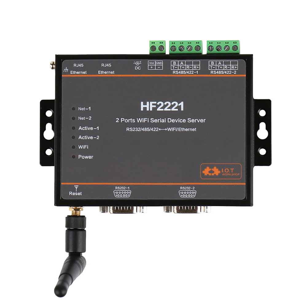 HF2221 Industrial Modbus 2 Serial Port WIFI Converter Serial Server RS232 RS422 RS485 to WiFi Ethernet Device TCP Protocol Q185 hightek hk 8204a industrial usb to 4 port rs232 serial converter