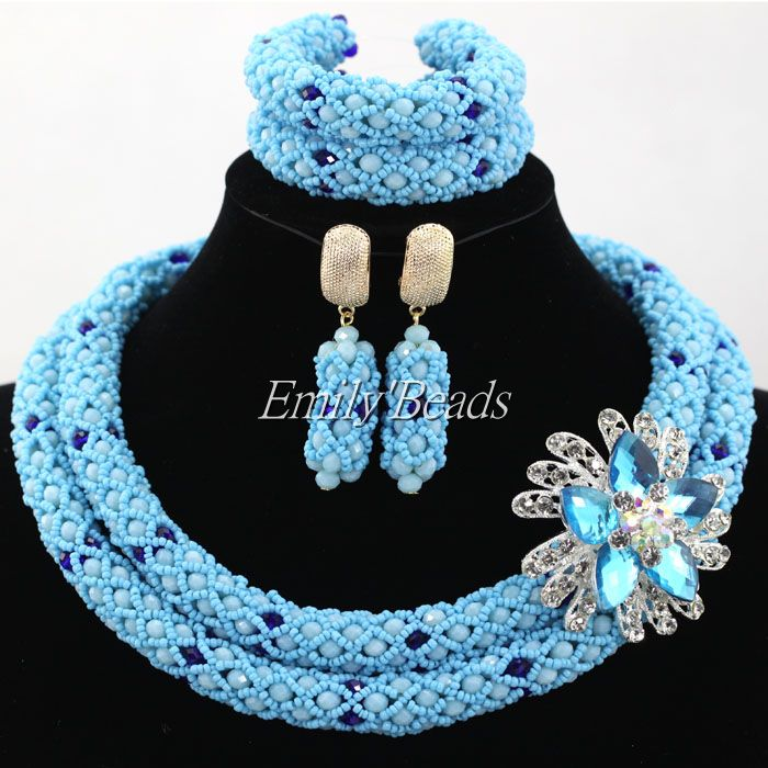 African Wedding Jewellry Set Costume Nigerian African Beads Jewelry for Brides Party Bridal Jewelry Set Free Shipping ALJ381 classic royal blue african costume beaded jewelry set handmade 3 layers nigerian beads wedding jewellry set free shipping 10057