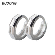 BUDONG Real 925 Sterling Silver Hoop Earring for Women Fashion Round Huggies Loop Earing Fine Jewelry Female Wedding Accessories